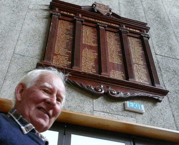 Tapanui RSA president Colin McDonald views one of the West Otago Community Centre's war honours...