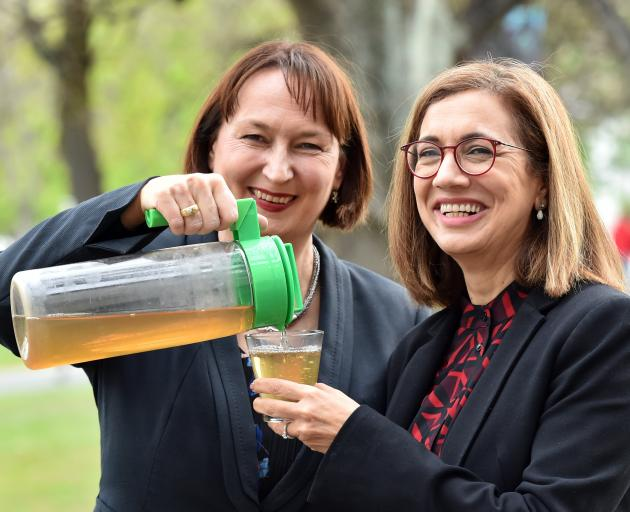 Artemis founder Sandra Clair (left) enjoys Artemis herbal tea with University of Canterbury (UoC)...