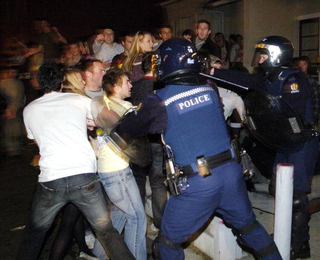 Revellers clash with police following the Undie 500 in 2008. PHOTO: GERARD O'BRIEN