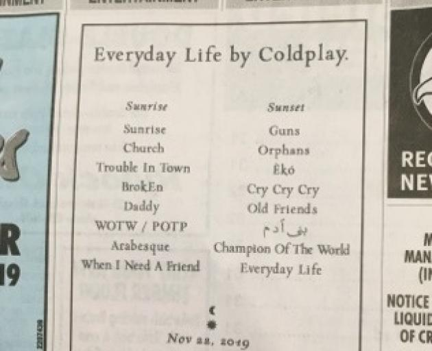 Coldplay are promoting their upcoming album the old-fashioned way, like with this classified ad which appeared in today's Otago Daily Times. Photo: ODT