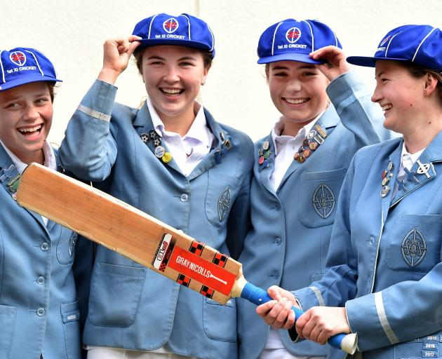 St Hilda's Collegiate and Otago Sparks foursome (from left) Eden Carson (18), Emma Black (18), Molly Loe (16) and Olivia Gain (17) look ahead to the season. Photo: Peter McIntosh