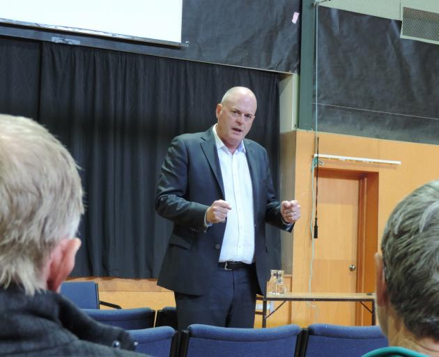 National Party agriculture spokesman Todd Muller discusses proposed freshwater legislation at a meeting in Papakaio last week. Photo: Sally Brooker