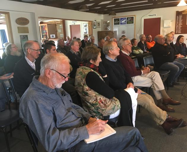 """Crowd members listen to the """"making sense of carbon on your farm'' meeting in Pleasant Point. Photo: Chris Tobin"""