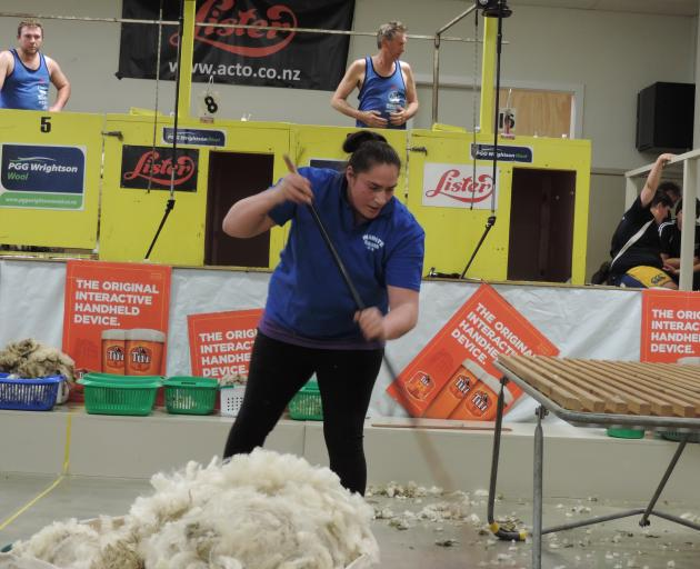 Eventual winner Pagan Karauria, from Alexandra, clears the floor in the open woolhandling final. A win at Waimate was a long-held goal; next on her list is winning at the Golden Shears. Photos: Sally Brooker