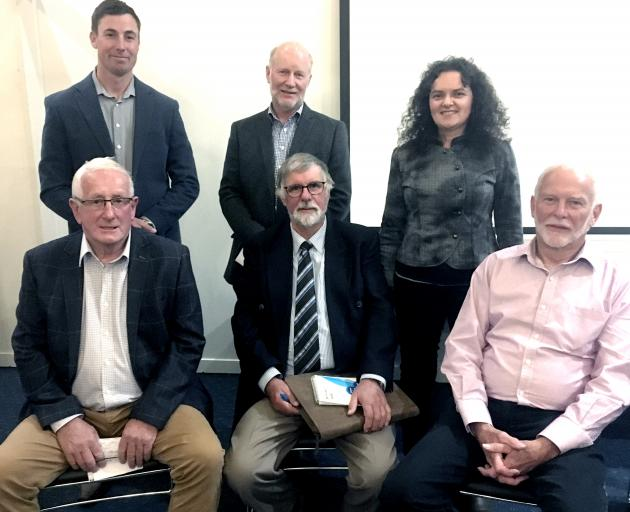 Six candidates are seeking two seats representing the South Canterbury constituency on Environment Canterbury. Back, from left, Jared Ross, Herstall Ulrich, Elizabeth McKenzie; front, Peter Scott, Peter McIlraith and Phil Driver. Photo: Chris Tobin