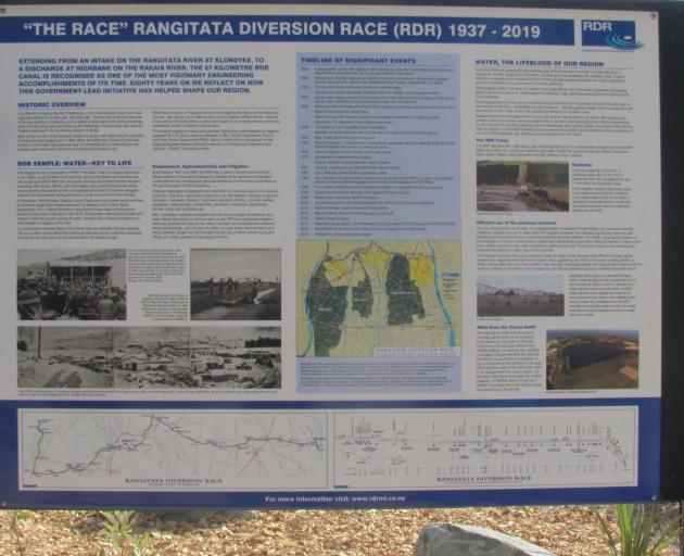 "The official information board detailing the RDR's history and its ""engineering wizardry'' was unveiled at the Rangitata River intake at the top of Klondyke Terrace during the celebration."