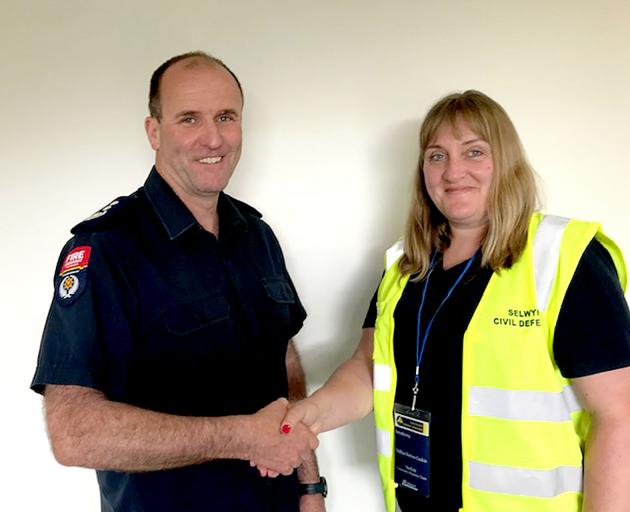 Darfield chief fire officer Alan Kittelty and community response team leader Andrea Horton-Gaskin...