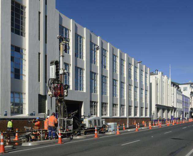 A drilling rig operates in Cumberland St outside the former Cadbury factory in August, as engineers conducted ground assessments for the new Dunedin Hospital. Photo: Gerard O'Brien