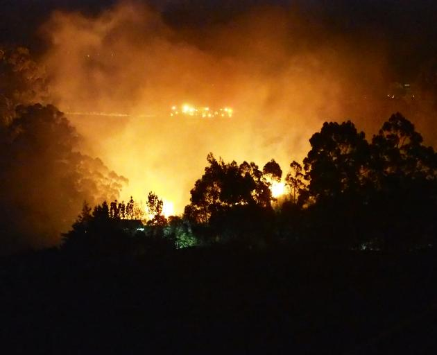 Fire appliances attend a vegetation fire visible from Pine Hill last night. Photo: Allan Beadle