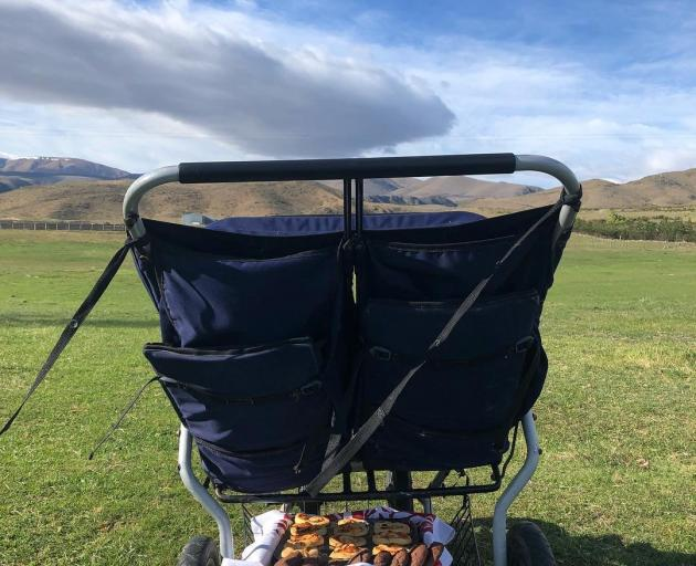 A buggy serves another purpose as it is used to deliver savoury pinwheels for smoko. PHOTO: PHILIPPA CAMERON