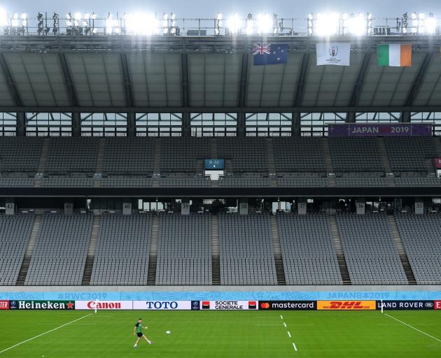 Ireland's Jonathon Sexton trained by himself at the Tokyo Stadium in Chofu last night. Photo:...