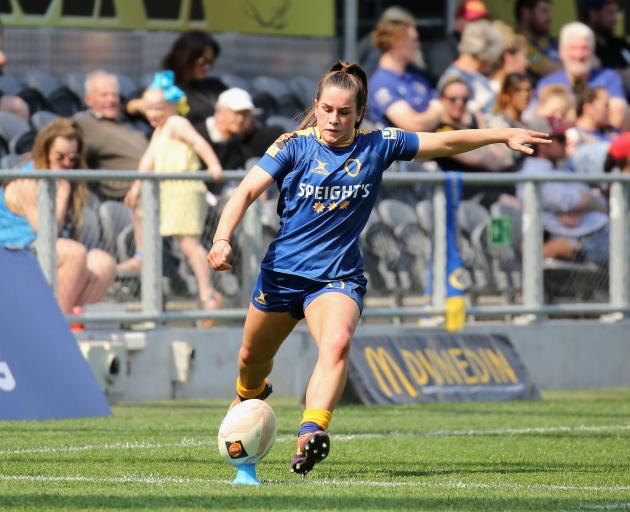 Rosie Kelly lines up a kick during the Farah Palmer Cup final at Forsyth Barr Stadium. Photo:...
