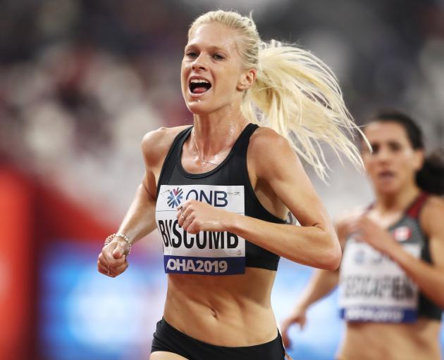 Camille Buscomb, of New Zealand, competes in the women's 5000m heats at the IAAF World Athletics...
