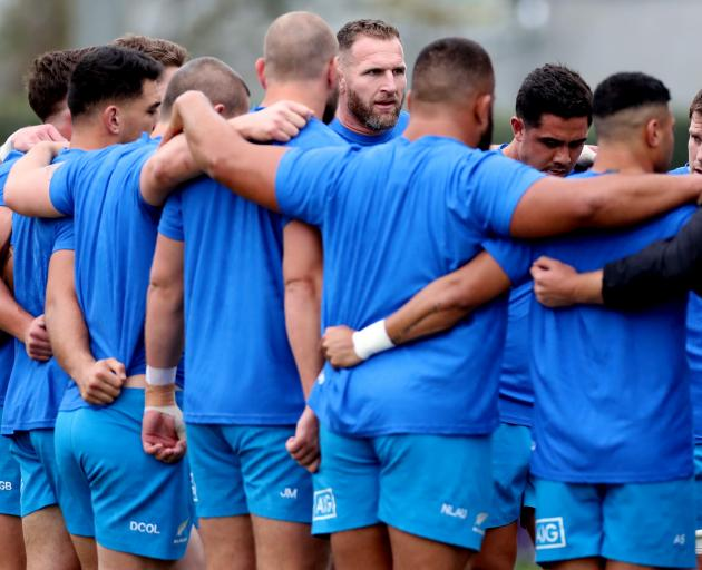 All Black captain Kieran Read speaks to the squad yesterday ahead of tonight's quarter-final...