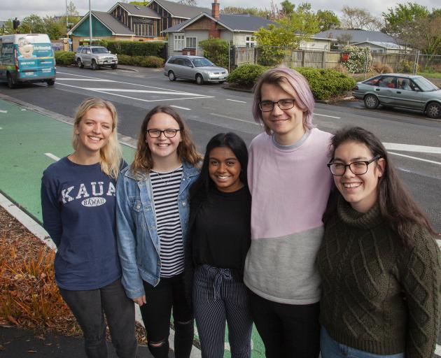 Canterbury University students Tessa Williamson, Ashley Beaton, Dipshika Chand, Matt Stent and...