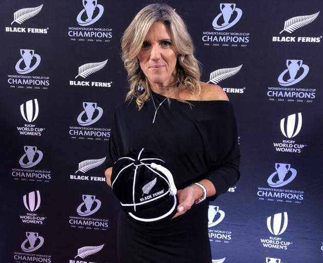 Helen Mahon-Stroud was among 46 former Black Ferns who received test caps at a ceremony in...