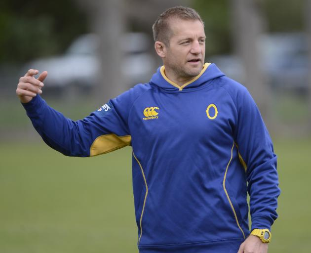 Otago assistant coach Ben Herring at Otago training at Logan Park earlier this week. Photo by...