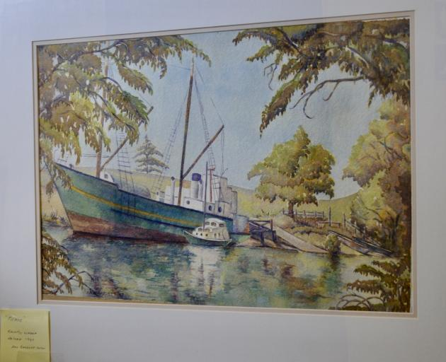 The MV Tuhoe at Kaiapoi Wharf, painted by Ann Barrett in the autumn of 1987, is included in the sale.