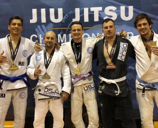 South New Brighton's Oceanside Jiu-jitsu Club members Kris Carson, left, Max Mills, Hayden Smith,...