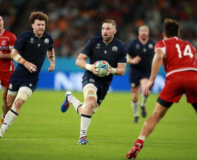 John Barclay makes a break for Scotland during their win over Russia. Photo: Getty Images