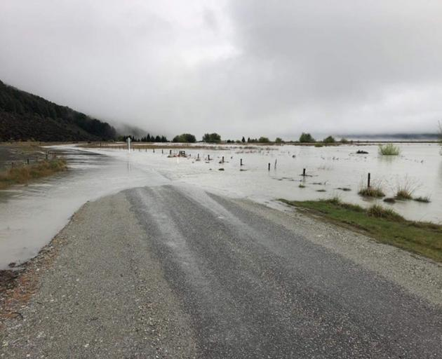Kinloch Rd has been closed due to surface flooding. Photo: Downer