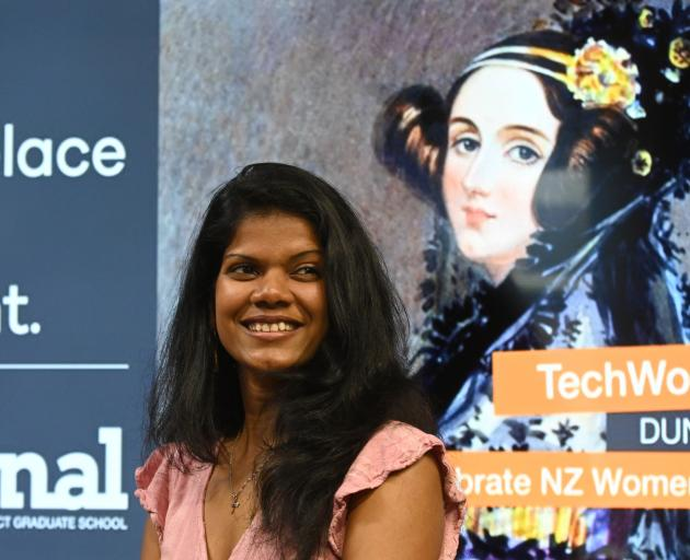Researcher Madhuri Kumari talks at an Ada Lovelace Day conference in Dunedin last night. Photo: Linda Robertson