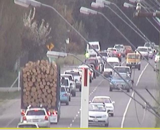 A traffic camera on Main North Rd showing a congested Marshland Rd after the crash.