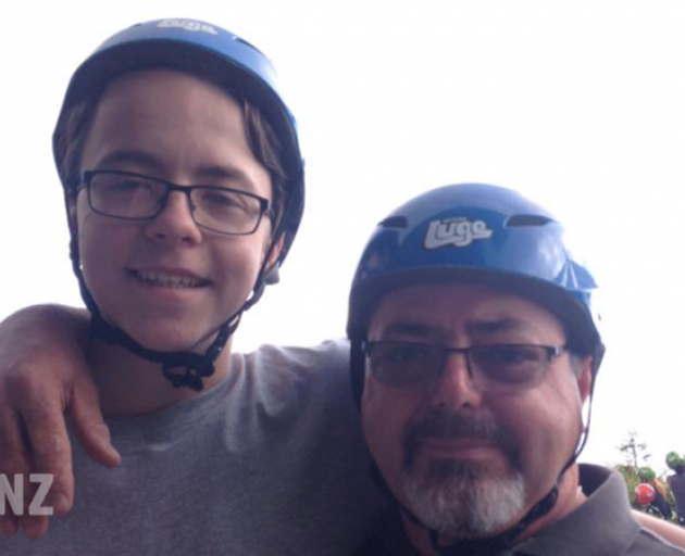 Mason Pendrous and his stepfather Anthony Holland Photo: Supplied to RNZ by family