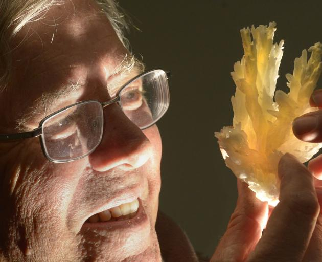 Otago Rock and Mineral Club president Les Gibson with a piece of aragonite, at the New Zealand...