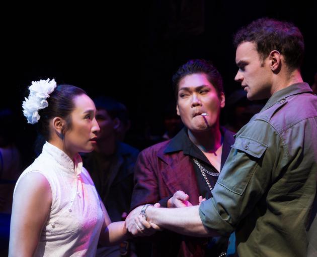 Tina Bergantinos-Panlilio as Kim, Marcus Rivera as The Engineer and Jack Fraser as Chris in the beautifully devastating production of Miss Saigon. Photos: Showbiz Christchurch