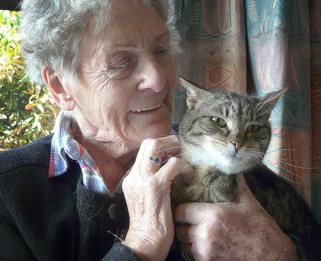 Retired Balclutha sheep farmer Jean Leonard says evidence acquired by her cat Puss illustrates the severity of the rabbit problem this season. Photos: Richard Davison