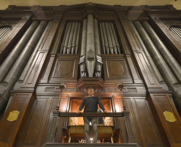Dunedin City organist David Burchell prepares to play Norma, the Dunedin Town Hall organ, in a...