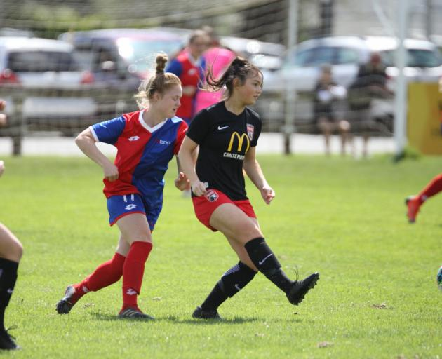 Macey Fraser scored Canterbury's final goal in their 5-0 rout of WaiBOP on Sunday. Photo: Lawrence Gullery