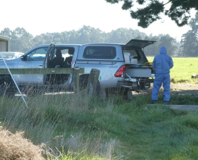 Forensic team at the Rakaia property where a homicide occurred. Photo: John Keast