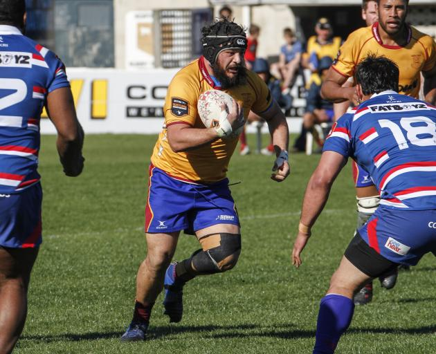 North Otago veteran Ralph Darling on the charge during the Heartland Championship game against...
