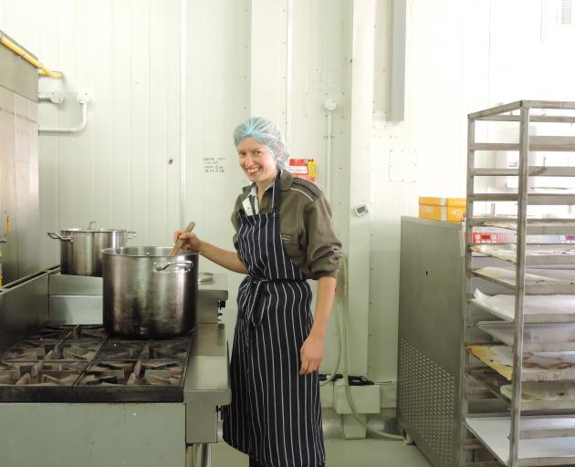 Waitaki Orchards' sorbet maker Ellen Watt mixes a fruit concoction. Photo: Sally Brooker