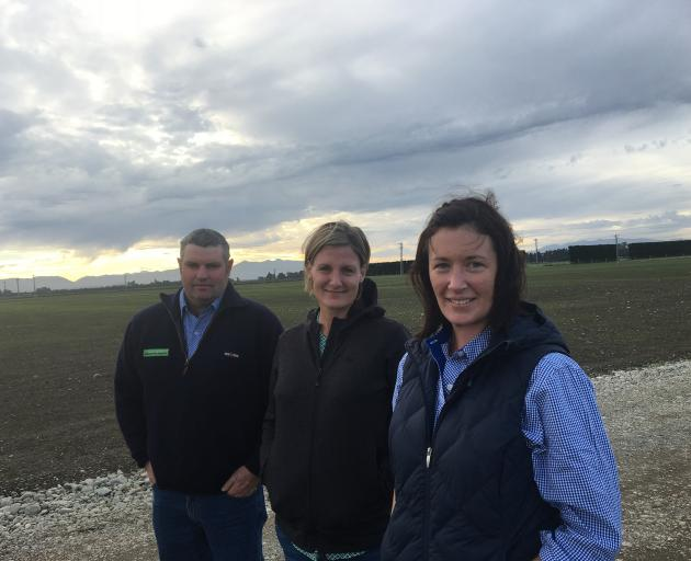 There has been a change at the top, with Michaela McLeod (right) taking over from Rodney Hadfield (left) as South Island Agricultural Field Days chairman, while secretary Tineka Johnstone is looking forward to the 2021 event. Photo: CRL archives