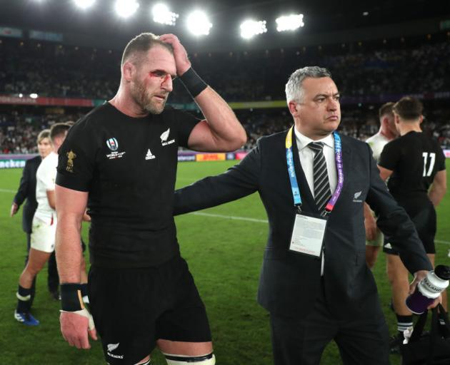 Kieran Read (left) looks on in disappointment after the Rugby World Cup 2019 Semi-Final loss against England. Photo: Getty Images