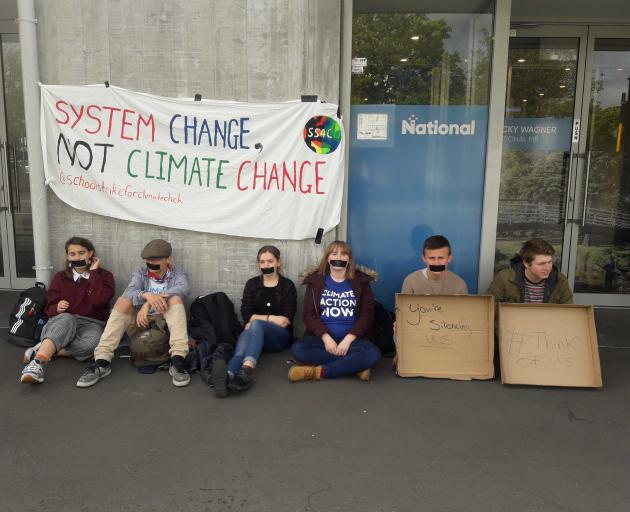 Students from Ao Tawhiti Unlimited Discovery, Cashmere, Burnside and Shirley Boys' high schools, as well as Lincoln University, protesting outside National MP Nicky Wagner's Christchurch office.