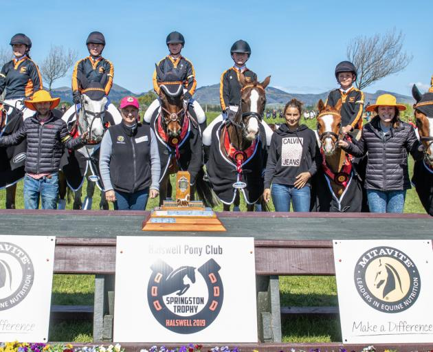 The Kaiapoi Black equestrian team won the Mitavite Springston Trophy over the weekend. Photo: Jane Thompson