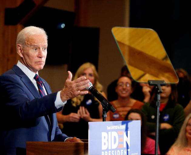 Democratic 2020 US presidential candidate and former Vice President Joe Biden. Photo: Reuters