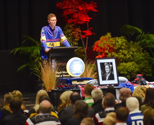 Shaun Vining delivers a moving and humorous eulogy to his brother at Blair Vining's memorial service at Stadium Southland yesterday. Photo: Gregor Richardson