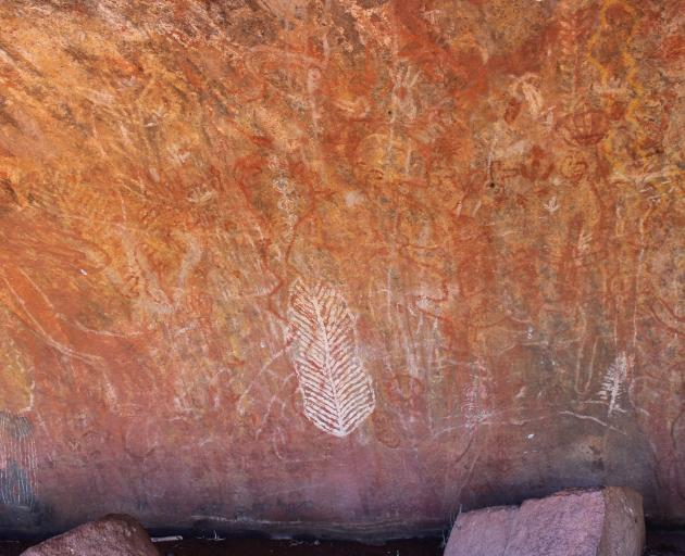 Some of the art found at the base of Uluru. Photo: Kerrie Waterworth