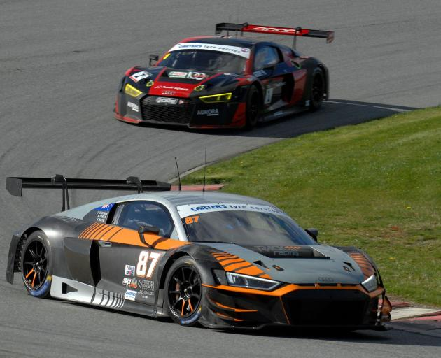 The Audi R8 driven by Highlands Motorsport Park's professional driver, Andrew Waite, leads...