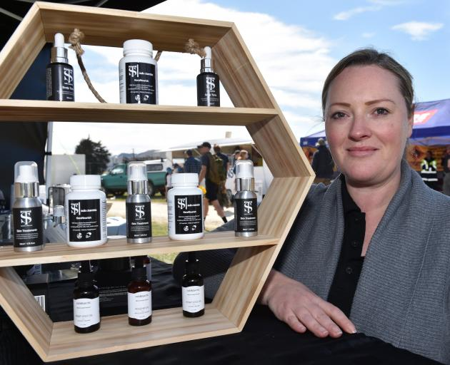 Kimberley Bray displays some of her Sub & Tarctic range which includes keratin derived from wool. Photo: Rural People