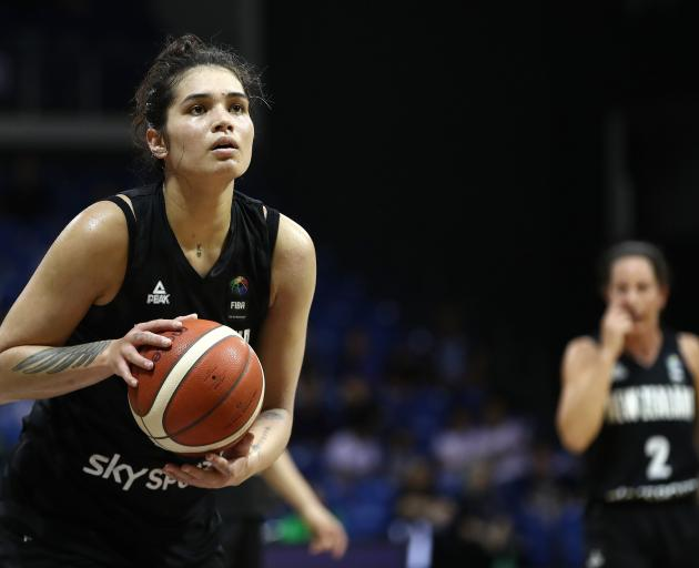 Penina Davidson, of New Zealand, shoots during the Fiba Women's Olympic Qualifying Series match...