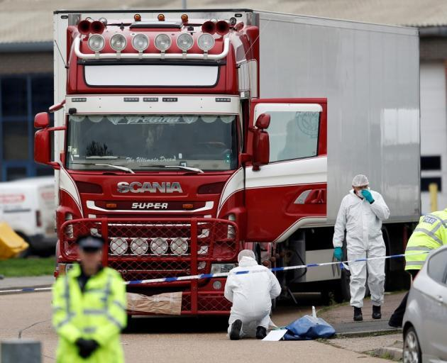 The bodies were found in a refrigerated truck on an industrial estate near London. Photo: Reuters