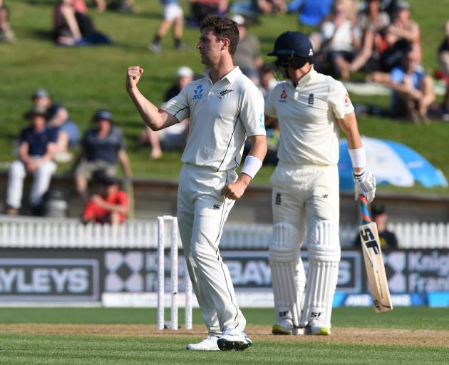 Matt Henry celebrates after picking up the wicket of Joe Denly late on day two of the second test...