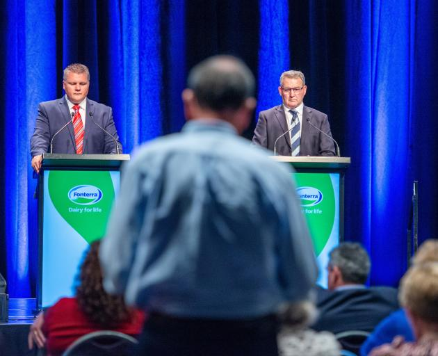 Fonterra chief executive Miles Hurrell (left) and chairman John Monaghan listen to a question...