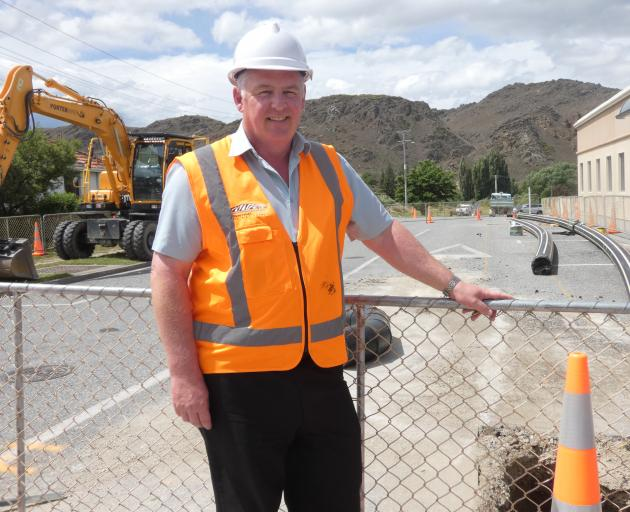 Central Otago District Council senior project engineer Kevin Furnival checks out progress on the Clyde Wastewater pipeline project in Alexandra yesterday. Photo: Adam Burns